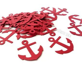 Red Large Anchor Cut outs, Die cut, Confetti,Set of 50pcs, 100pcs Embellishments or CHOOSE YOUR COLORS