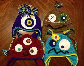 Monster hats// winter hat// beanie// mens // women's // kids // toddlers// baby// earflaps// tails