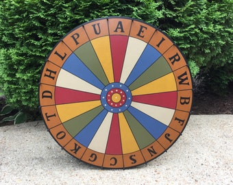 Primitive, Game Board, Round, Carnival Wheel, Wood, Folk Art, Antique Reproduction, Carnival, Game Boards, Wooden, Game Room,Decor