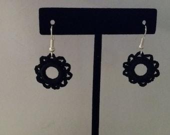 Black Crocheted Earrings