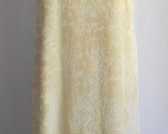 80's Cream Burnout Dress Vintage Ivory Cream Velvet Burnout Slip Dress Ivory Floral Burnout Boho Wedding Bridal Shower Layered Dress