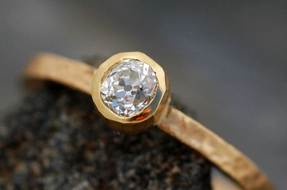 Antique 1800's Old Mine Cut Miner Cut Diamond in 18k Recycled Gold Ring- Vintage Victorian Era Diamond