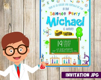 Science Experiment Invitation, Science Party, Science Birthday Invitation, Science Invitation, Science Theme Printables