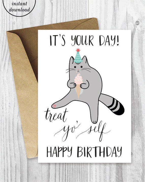 Printable birthday cards treat yo self funny cat birthday printable birthday cards treat yo self funny cat birthday cards printable cat card card digital download cat with ice cream treat card bookmarktalkfo Gallery