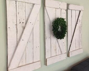 Rustic Barn Door Wood Wall Hanging, Wooden Shutter, Small Barn Door