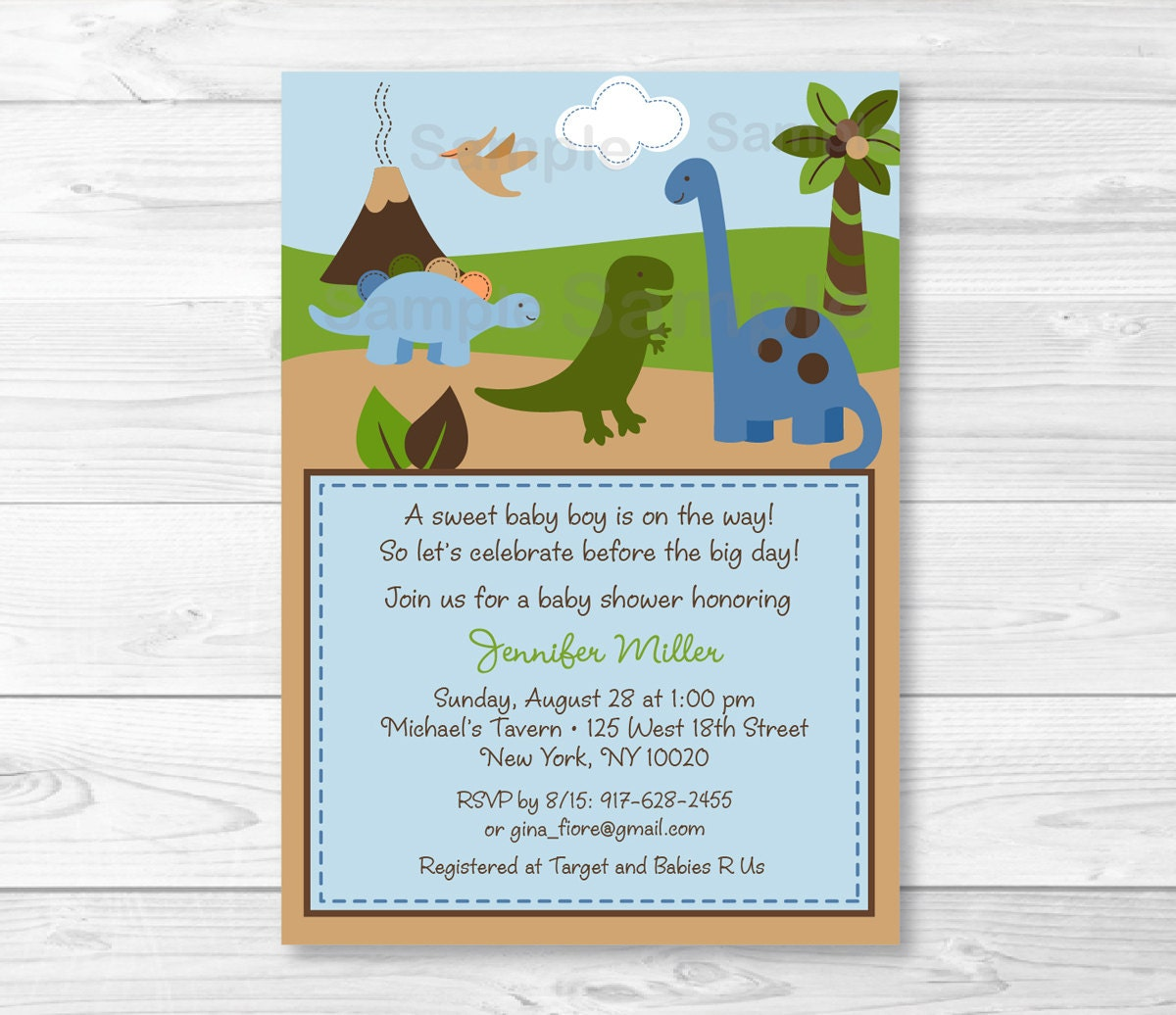 Cute Dinosaur Baby Shower Invitation / Dinosaur Baby Shower