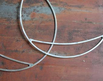 Bridge Hoops, Medium : Sterling Silver or Brass Hoop Earrings, Hammered by Hand