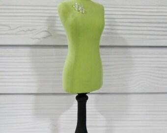 Green Mini Mannequin Form W/Needles