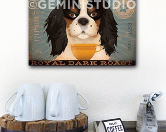 Cavalier King Charles Coffee Company original graphic art on gallery wrapped canvas TWO COLOR OPTIONS