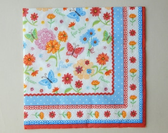 2 flowers and multicolored butterflies paper napkins