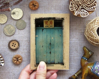 Travel Journal Turquoise Door Notebook 01. Mini Travel Size Journal - Turquoise Blue Textured Shop Front -  Inspirations in your Pocket