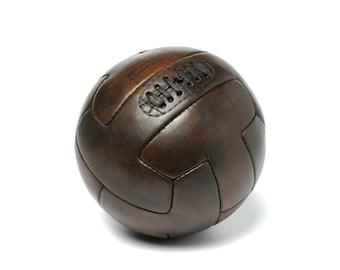 Vintage leather T-shape 1930 soccer ball