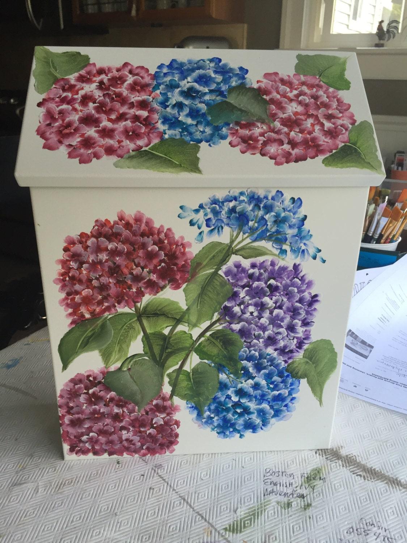 Hand Painted Wall Mount Mailbox Dark Hydrangea Red Blue