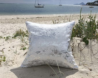 Silver Outdoor Cushions. Metalic Outdoor Pillow Cover Only, Luxe Cushions, Sea Glass Glamour Outdoor Cushions,  Pillows
