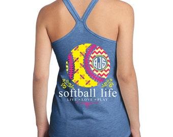 OFFICIAL TM Softball Life™ Custom Monogram Tank Softball Shirt Softball Tank