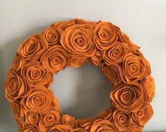 Handmade Pumpkin Felt Rosette Wreath. Premium felt. Fall Wreath. Handmade Wreath. Door Hanging. Wall Hanging. Custom.Handmade