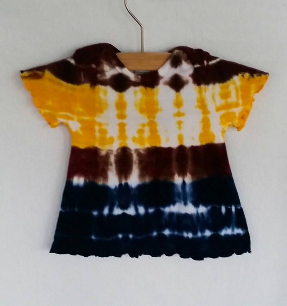 Hand Dyed Tie Dye/Yellow, Navy and Chololate Design/Infant & Toddler/Eco-Friendly Dying