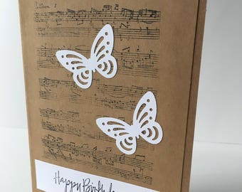 Happy birthday cards, handmade,butterfly, flowers