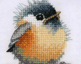 Counted cross stitch Chickadee Coaster Kit from Heritage Crafts