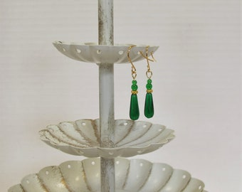 Quality Emerald Green Czech Glass Earrings, Gold-Filled Earwires, Victorian, Civil War Appropriate - Affordable Elegance