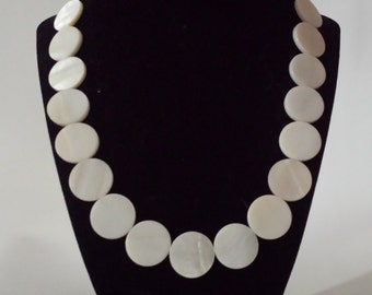 White Shell Lentil Necklace, Handmade