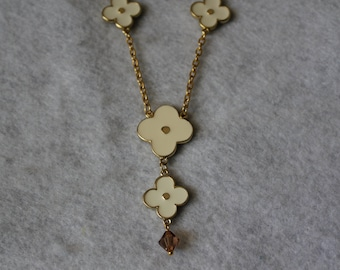 Gold Tone  Logo Clover Necklace