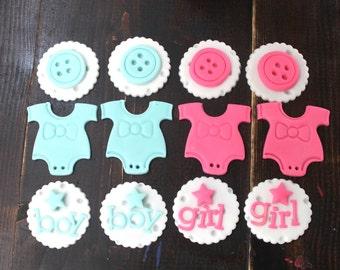 GENDER REVEAL / Baby Shower Cupcake Fondant Topper 12pcs. Baby Blue & Pink