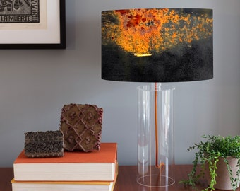 Acrylic Column Table Lamp Shade - Titanic. Photography lampshade, rust, red, orange, industrial, modern, route 66.