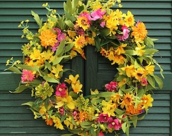 Floral Summer Door Wreath - Flower Wreath - Summer Door Decor -