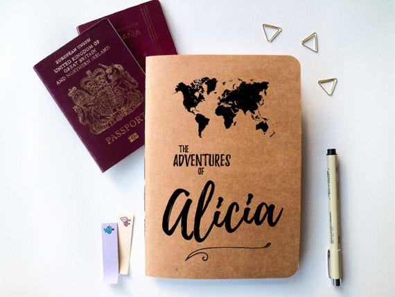 Personalised travel journal travel journal with world map personalised travel journal travel journal with world map and custom name design adventure notebook travel gift idea blank a5 gumiabroncs Images
