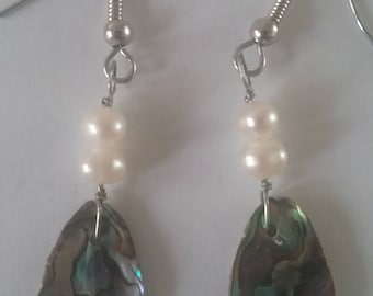 Paua shell earrings with pearl beads