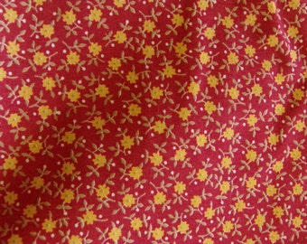 2 Yards Of Red Fabric With Tiny Yellow Flowers