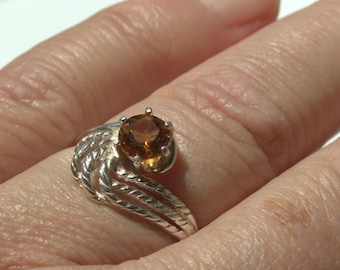Sterling Silver Natural Orange Citrine 6mm Round Ring .63ct size 7