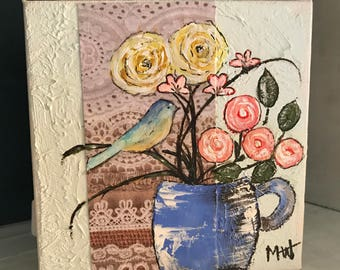 Blue Teacup Whimsical Floral 5x5 Acrylic Painting Gallery Wrapped Canvas