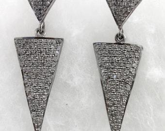 Pave Diamond Earrings, Pave Diamond Triangle Earrings, Pave Diamond Chevron Earrings, Diamond Spike Earrings, Oxidized Silver, (DER-094)