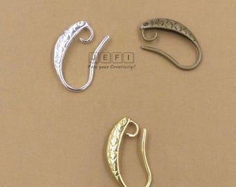 100 Earring Hooks Fish Textured 13x17mm Raw Brass/ Antique Bronze/ Silver/ Gold/ 14k Gold Plated Ear Wire W/ Hoop Wholesale Ear Wires