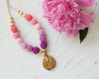 Nursing Necklace - Pink&Violet Gradient, Juniper Wood - Teething Necklace, New Mom Necklace, Baby Shower Gift - NG06