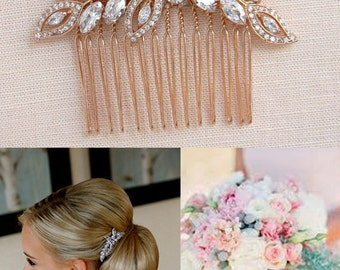 Rose Gold Bridal Hair Comb, Rose Gold Wedding headpiece, Wedding hair comb, Swarovski Pearls, Wedding jewelry, Linneah Bridal Comb