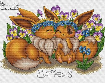 Enamored Eevees Cross Stitch Pattern PDF Instant Download Embroidery Cute Wall Decor Nursery Cross Stitch