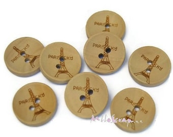 Set of 5 Paris embellishment cardmaking scrapbooking buttons *.