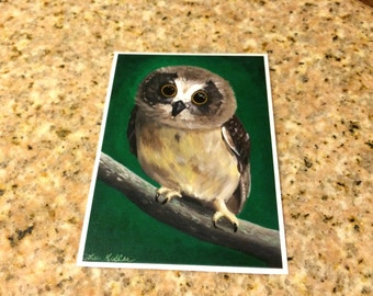 Owl ACEO print. Owl art, Print from original canvas owl painting.