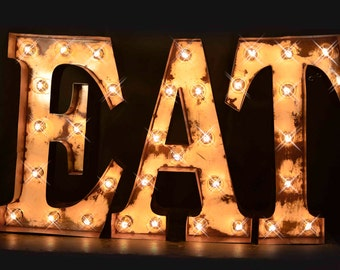 lighted letter signs. Marquee Letter, Eat Sign, Cafe Lighted MARQUEE SIGN, Light, Letter Fixture: Vintage Style \ Signs