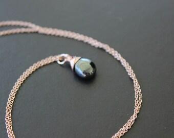 Mirror-Shine Hematite Rose Gold Necklace