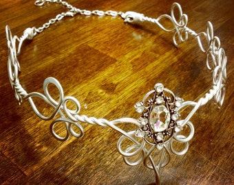Elven Circlet - QUEEN BEE - Celtic Hand Wire Wrapped - Choose Your Own COLOR - Crown Tiara Bridal Wedding Hairpiece