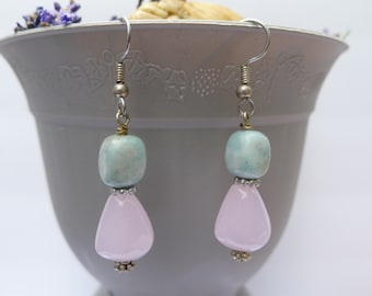 Turquoise and Rose Quartz Drop Earrings-Ana