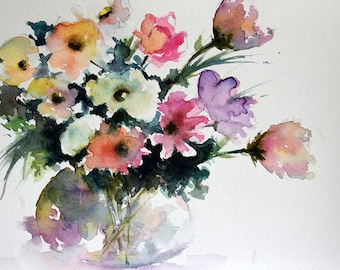 Original Watercolor Painting, Colorful Floral Painting, Flowers In a Vase 6x8 Inch