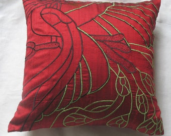 Red dupioni silk cushion cover  obstract peacock pillow. Decaretive pillow.  Mordarn peacock pillow cover.  Custom made