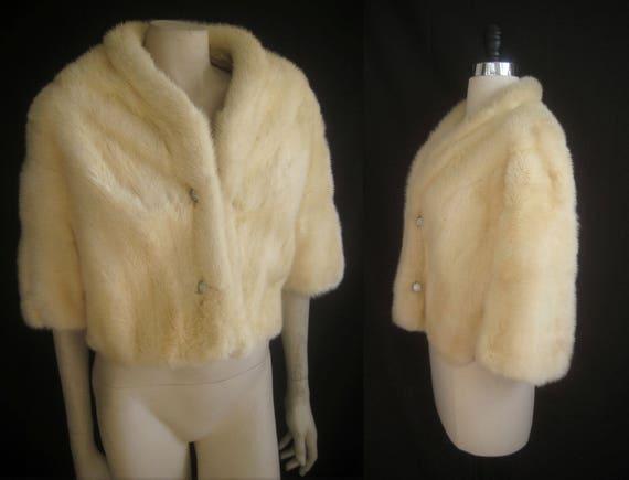 MINK White Winter Luxury ~ Horizontal Ivory FUR ~ Blonde crystal Wedding ~ Ivory Jacket Coat Adorable Stole Bridal ~Exquisite buttons BOLERO qExf5wBB