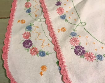 Dresser Scarf table runner or dresser scarf Hand stitched cross point embroidery floral pattern