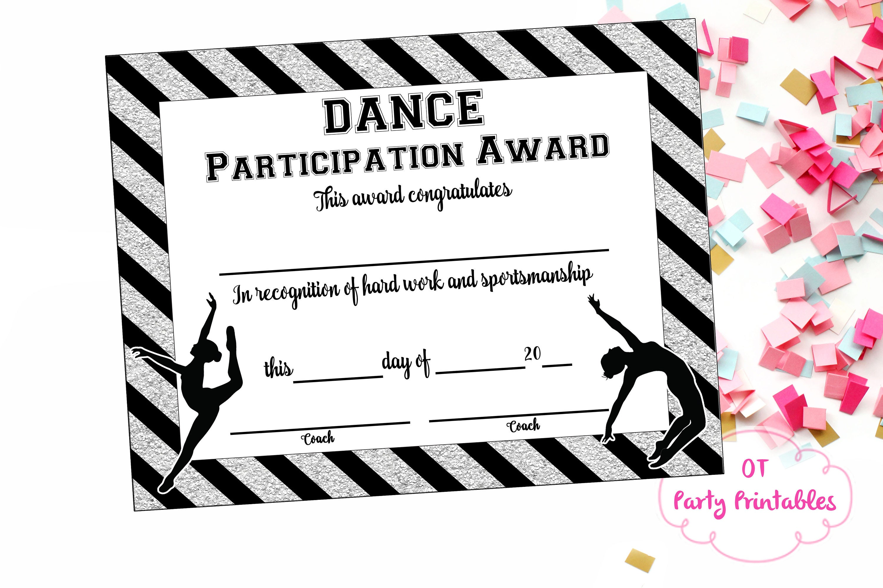 Instant download dance team certificate dance award zoom xflitez Images